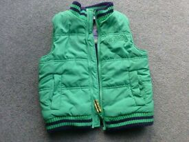 Boys Green Quilted Gilet Age 3-4 years