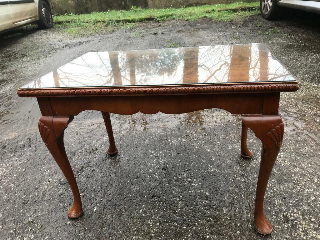 Solid wood coffee table with glass top | in Redruth ...