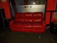 LEATHER 3 SETTEE RED----plus 3 x others--GOT TO GO THIS WEEKEND
