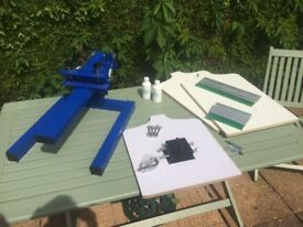 Single 1 Colour Screen Printing Press Kit + Screens +Squeegees +Platens