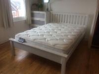 Double Bed Frame & Sealy Mattress, White