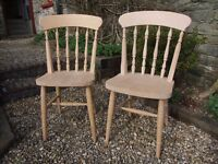 A Pair of Sanded Hardwood Dining Chairs, Natural Beech, Solid Seat Spindle Back