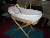 Moses basket for newborn baby for your bedroom as new spare sheets included