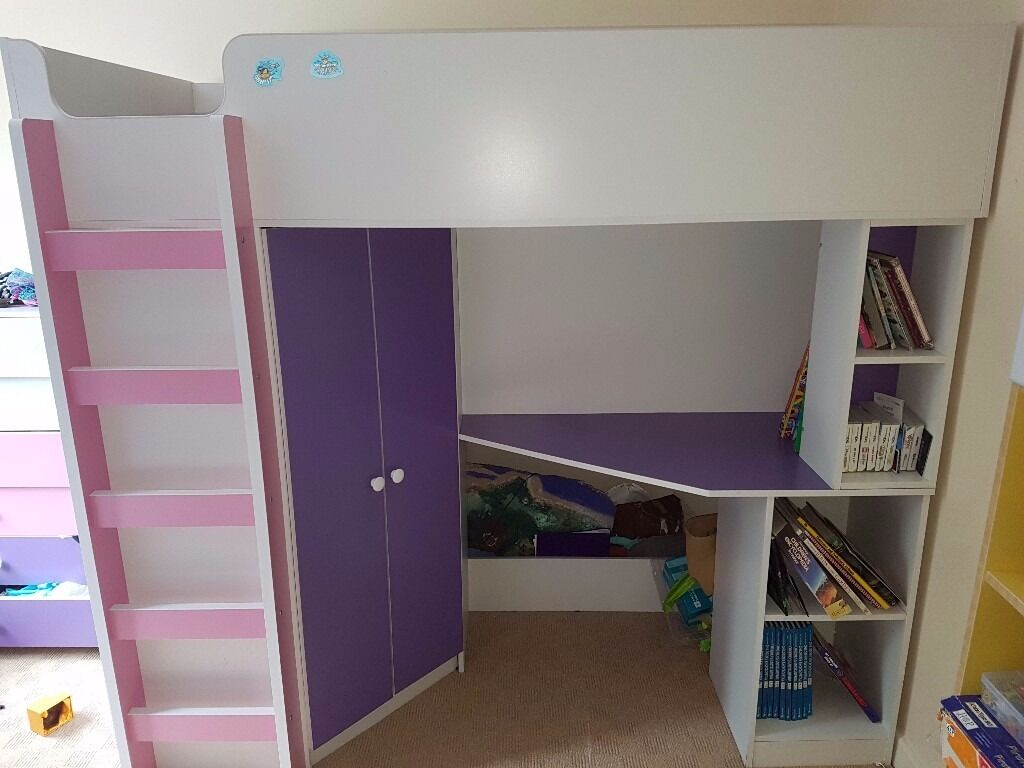 Kidspace Bedroom Furniture Kidspace Metro High Sleeper With Desk And Wardrobe In Pink White
