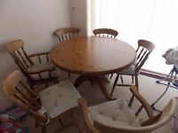 Round Pine Table and 6 Chairs