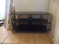 tv unit suitable for up to 50 inch tv black glass three level unit