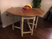 Oak wood drop leaf dining table Shabby Chic upcycled