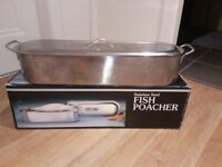 REDUCED PRICE LARGE STAINLESS STEEL FISH POACHER - professional or home kitchen