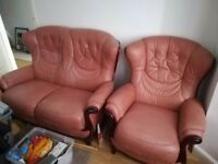 Pink leather sofa set for sale