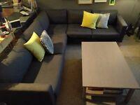 Ikea Karlstad Corner Sofa (dark grey, with additional beige covers) - PICKUP ONLY