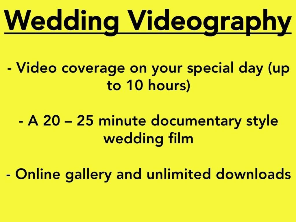 £300 Wedding Videography    *Until April 2017*