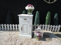 SOLID PINE FARMHOUSE SIDE CABINET PAINTED WITH LAURA ASHLEY PALE DOVE AND WAXED FOR PROTECTION