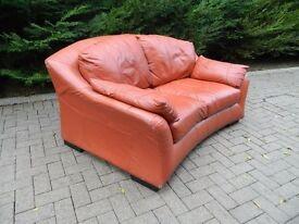 Italian Tan Leather Curved-Back 2 Seater Sofa