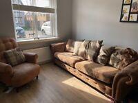 Dfs 4 seater suede sofa and armchair