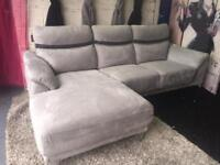 New Wrigley 3 Seater Left Hand Fabric Corner Chaise Sofa In Grey Suede Fabric Double Arm