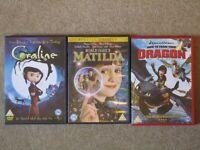 3 Children's DVDs: 'Matilda', 'How to train your Dragon', 'Coraline'