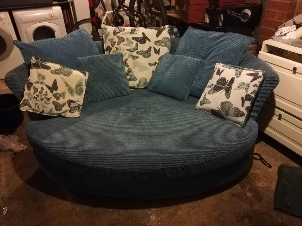 Dfs Blue Round Sofa Chair With Ter Cushions