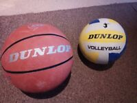 Dunlop Basketball and Volleyball balls used in good condition