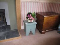 Painted Milking Stool, Footstool, Plant Stand, Lamp Stand