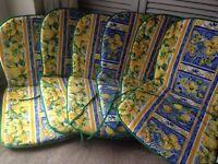 6 x REVERSIBLE MEDITERRANEAN PRINT GARDEN PATIO CHAIR SEAT PAD CUSHIONS NEW