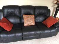 Black leather recliner sofas 2 3 seaters