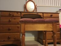 KING SIZE BED FRAME, DOUBLE MATTRESS, DRESSING TABLE & STOOL, CHEST & MIRROR!