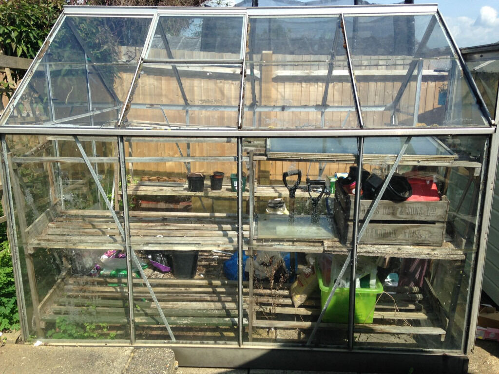 Free Greenhousein Portslade, East SussexGumtree - Free to dismantle and collect sturdy aluminum greenhouse with extra glass panels. Includes vent opening and sliding door. Dimensions L W H 8 x 6 x 7ft Dismantle and collection only