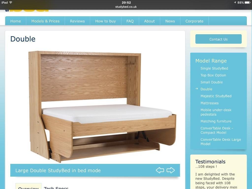 Double Study Bed Desk Work Station Converts To