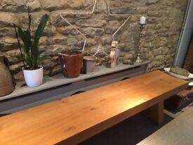Designer Oak bench in contemporary style
