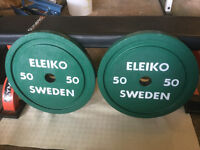 Vintage Eleiko 50 Kg Powerlifting Olympic Weight Plates - Rare