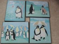 Set of 4 x Golfing Penguin Block Pictures from 1980s