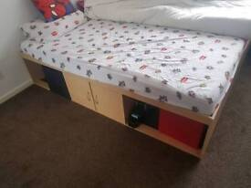 KIDS SINGLE CABIN BED WITH STORAGE.. mattress also available