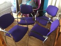4 x ITALIAN DESIGNER STACKABLE DINING CHAIRS. UPHOLSTERED SEATS & VERY SOLID METAL FRAMES