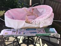 Cream Mamas and papas Moses basket vgc with new stand