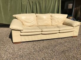 Cream Leather 3 seater sofa and armchair