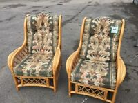 Pair of cane chairs 2 cain chairs