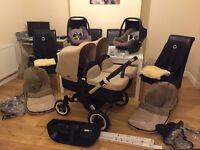 Bugaboo donkey twin, 2 maxi cosi pebble car seats and more