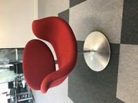 Curved Red Reception chairs