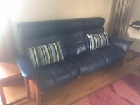 FREE LEATHER AND WOOD BLUE COUCH