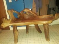 Hand crafted wooden bench.unwanted gift.