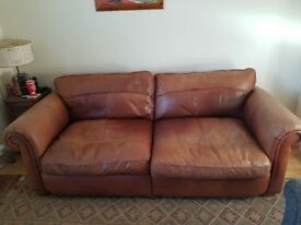 Large tan/chestnut real leather sofa distress/industrial look