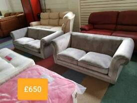 Grey velvet 3 and 2 seater sofas