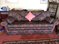 3 seater sofa with 5 cushions and a 2 seater sofa with 3 cushions. Paisley pattern.