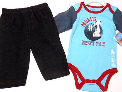 Basketball Baby Boys outfits Clothes Bon Bebe Mom's #1 Draft Pick 2 Pc 6/9 Mos