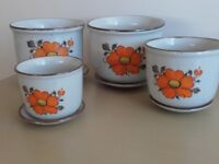 4 Nice Ceramic Pot Planters With Matching Saucers in Fab Condition