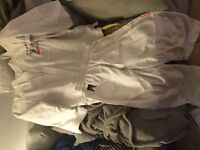Tai kwon do white suit and belts, excellent condition.