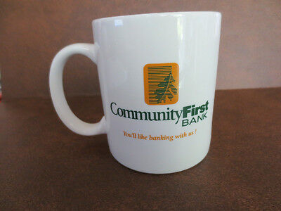 Vintage Coffe Mug Advertisting Community First Bank Hartsville Tenn
