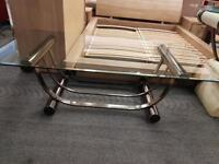 Glass Top Brushed Stainless Steel Coffee Table