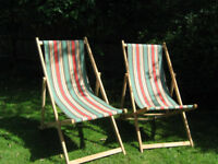 Traditional-style deckchairs