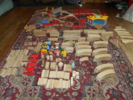 Large Brio wooden train layout and trains